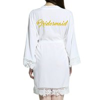 2018 New bridesmaid Cotton Kimono Robes With Lace Trim Women...