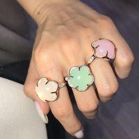 Mode fünf Blütenblatt Blume rosa weiß grün bunten Opal Schmuck 925 Sterling Silber Ring Weißgold Farbe edlen Schmuck für Frauen