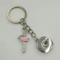에나멜 댄스 소녀 / 발레리 18mm 스냅 버튼 키 체인 매력 키 체인 키 자동차 열쇠 고리 기념품 커플 핸드백 키 체인 A71의 경우