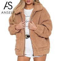 2018 Mujeres de invierno Faux Fur Chaqueta de color sólido Fluffy Teddy Bear Fleece Bolsillos con cremallera de manga larga Escudo Furry Casual Street Wear