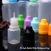핫 도매 5ml의 플라스틱 스포이드 병 LDPE 병 eliquid 눈 childproof 모자 및 재고 가늘고 긴 적기 팁과 병 상품!