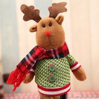 Кукла Счастливого Рождества бутылки вина обложка мультфильм милый Лось Санта мешок Снеговик форма пиво держать мешок вязание изысканный легко носить с собой 6 JL cc