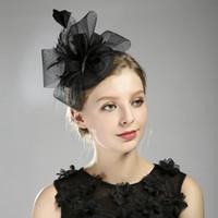 I migliori accessori per cappelli da sposa neri europei e americani Accessori per cappelli da donna Fascinator per banchetti di feste