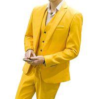 남자 정장 세 조각 자켓 바지 조끼 노치 라펠 맞춤 제작 한 버튼 파티 남성 정장에 노란색 결혼식 신랑 들러리 턱시도