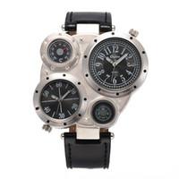 Мужская мода большой циферблат компас часы термометр смотреть Band два часовых пояса Спорт Повседневная военный тактический пилот двойной циферблат кварц