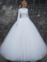 رائع الكرة بثوب فساتين الزفاف عالية الياقة الطابق طول الأبيض تول مسلم أثواب الزفاف كم طويل الرباط فستان الزفاف