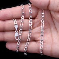 Moda 2mm 925 argento sterling figaro catena di fascino collana donna gioielli partito a catena fai da te per le donne 18-24 pollici