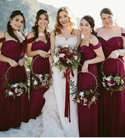 Burgundy Chiffon A-Line Bridesmaid Dresses Sweetheart Spaghetti Straps Charming Maid of Honor Dresses Pleats Prom Dresses Long