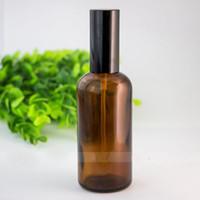 280pcs / LOT 100ml ámbar botella del aerosol de cristal vacía de pulverizador frascos de perfume envases rellenables cosmética atomizador Para Tarvel regalo
