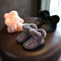 Paillettes filles bottes chaussures d'hiver pour les filles bottes roses enfants bottes de neige enfants
