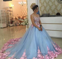2019 Baby Blue Quinceanera Dress Princess Appliques Flowers Sweet 16 Ages Long Girls Prom Party Pageant vestido de talla grande por encargo