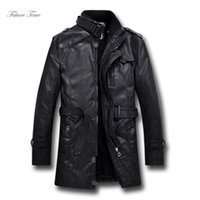 Hombres chaqueta guapo cuero de la PU ropa de la piel lavada largo locomotora soporte de la capa del collar, además de terciopelo rompevientos hombres StreetwearWY020