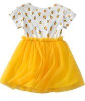Baby Kinder Mädchen Zitronengelb Kurzarm Tüll Kleid Sommerkleid Prinzessin Tutu Kleider Für Hochzeit Prom