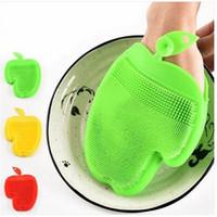 Бесплатная доставка Оптовые Силиконовые Блюдо для Мытья Перчатки Губка Скруббер Щетка Для Мытья Посуды Кухонный Инструмент Щетки Для Очистки