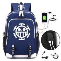 Anime One Piece Luffy Logo Backpack USB Bag Casual Backpack ...
