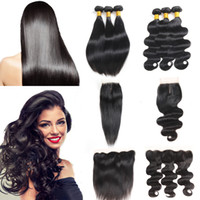 Brazilian Human Hair Extensions Body Wave Bundles with Closu...