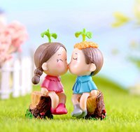 4pcs baciare coppia fairy garden miniature gnome moss terrarium decor fumetto resina artigianato matrimonio bonsai home decor cupcake topper