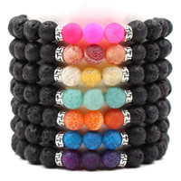 Colorful Weathered Agate 8MM Black Lava Stone Beads Bracelet...