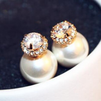 Pearl Örhängen Mode Dubbelfärg Dubbelsidiga Örhängen Zircon Stud Örhängen Smycken för kvinnor Party som gåva