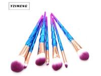 7/10/12 unids pinceles de maquillaje de diamante con colorido ventilador maquillaje pincel Fundación ceja sombra de ojos ojo purpurina azul conjunto cosmético DHL SHIP