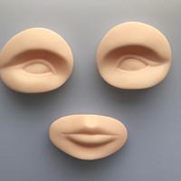 3d prática de silicone olhos e lábios tatuagem cabeça modelo falso prática peles para a prática de maquiagem permanente