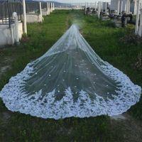 디자이너 구슬 대성당 길이 신부 베일 4.5 미터 화이트 아이보리 레이스 아플리케 한 레이어 3D 꽃 웨딩 베일 무료 배송
