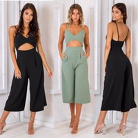 Summer Fashion Wide leg Rompers Women Sexy Backless Bow Loos...