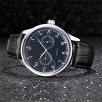 Leather Watch Men' s Business Casual Watches With Calend...