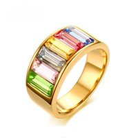 Rainbow Color Stone Rings for Women 9mm Gold- Color Stainless...