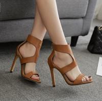 Nouveau Style Sandales En Cuir Véritable Pour Femmes Gladiator À Talons  Hauts Sangle Pompes Chaussures Mode fc7dd511dde1