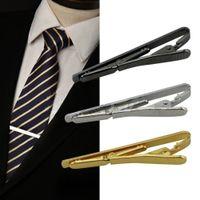 55 * 5 mm de la moda hombres del clip de lazo de plata del metal de oro simple Lazo de la corbata del corchete de barra Clip Pin para hombres Trajes corbata formal de la boda Pin