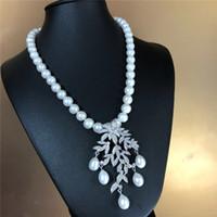 El doğal 8-9mm beyaz tatlısu inci yaprakları mikro düğümlü kakma zirkon accessoriese toka kazak kolye uzun 45 cm moda takı