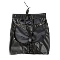 Kadınlar Için porno Lateks Bebek Bebek Seksi Iç Çamaşırı Sıcak Siyah PU Deri Açık Crotch Mini Etek + G-string Kutup Dans Erotik Kostümleri Y18102206