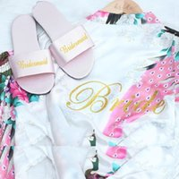 Bridesmaid gifts Wedding Satin Slippers wholesale Unique Bri...