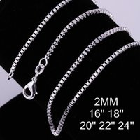 2018 Fashion Solid 925 Sterling Silver Chain 5Pcs 2MM Men Wo...