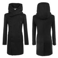 الجملة ، الرجال أزياء الشتاء Md- طويل نحيف مزدوجة الصدر معطف مقنعين أبلى دافئ