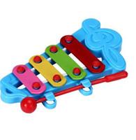 Bebê Criança 4-Note Xilofone Brinquedos Musicais Desenvolvimento Sabedoria BU Notas mão batida piano jogo do cérebro azul atacado varejo P3