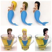 3 цвета Mermaid Чайные Infuser Food Grade Silicone Сетчатый Творческий Мифологические существа пакетика чая Mermaid чай Фильтр CCA9933 30шт