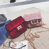 Velvet Mini Purses For Children Solid Fashion Designer Brand...