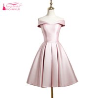 Pearl Pink A Line Bridesmaid Dresses Knee Length Simple Sati...