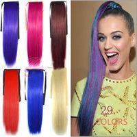 """Alileader синтетический хвост длинные прямые волосы 24"""" клип хвост наращивание волос Блондинка коричневый фиолетовый розовый хвост волос с шнурком"""