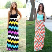 8 색 O-Neck 웨이브 스트라이프 Boho Maxi Dress 여성 섹시한 민소매 프린트 롱 드레스 여성 여름 우아한 비치 Vestido