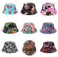 Kadınlar Kepçe Şapka Çiçek Baskı Cap Yaz Renkli Düz Hat Balıkçılık Boonie Bush Cap Açık Sunhat KKA5510