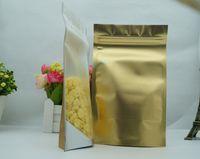 Doypack de almacenamiento de alimentos, 100pcs / lot 12x20cm Levántese la bolsa Ziplock de papel de aluminio dorado mate de Translucency, bolsa de papel de aluminio mylar con cierre de cremallera