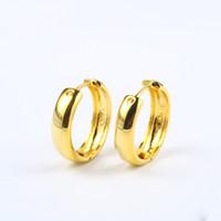 Boucles d'oreilles brillantes en or jaune 18 carats brillantes, cadeau de bijoux pour femmes, ornement d'oreille