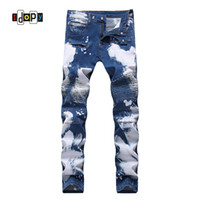 Idopy Mens Fashion Brand Designer Biker Jeans Hip Hop Punk Style Painted Denim Pants Straight Fit Jean Trousers For Men