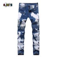 Idopy Mens Fashion Brand Designer Biker Jeans Hip Hop Punk Style Painted Denim Pants Straight Fit Jean Trousers For Men