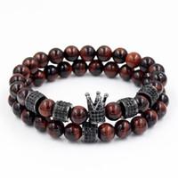 Gli amanti Natural Cool Red Tiger Eye Bracciali Pietra Ruota d'Oro perline e braccialetti di fascino corona nera con strass 2pcs