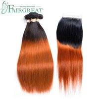 Pre- Colored Ombre Human Hair Bundles With Closure t1b 350 Pe...