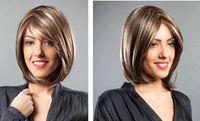 PRODUCTOS CALIENTES Pelucas llenas Fibra sintética alta del pelo corto atractivo de la manera Como la exención del pelo humano del franqueo